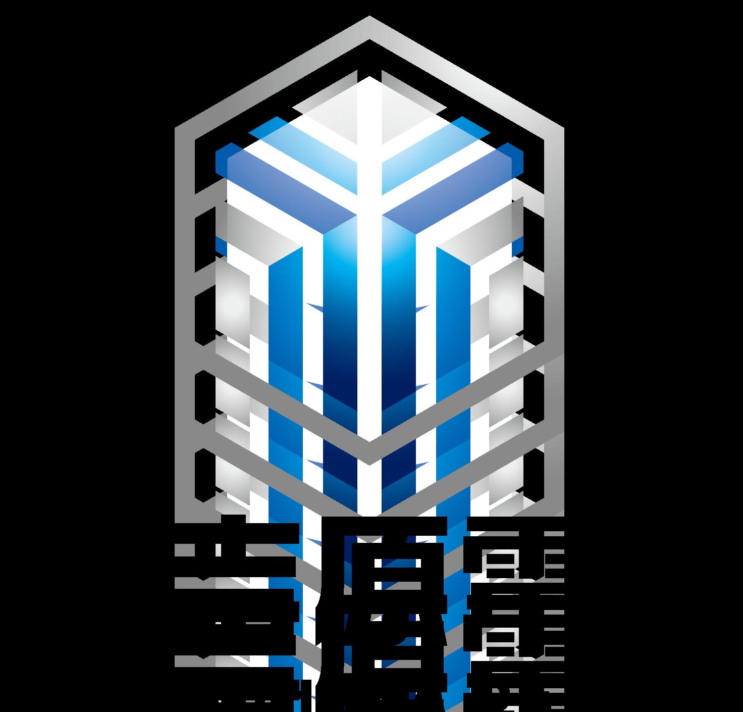 建築/建設/設備/設計/造園と近未来と青のロゴ
