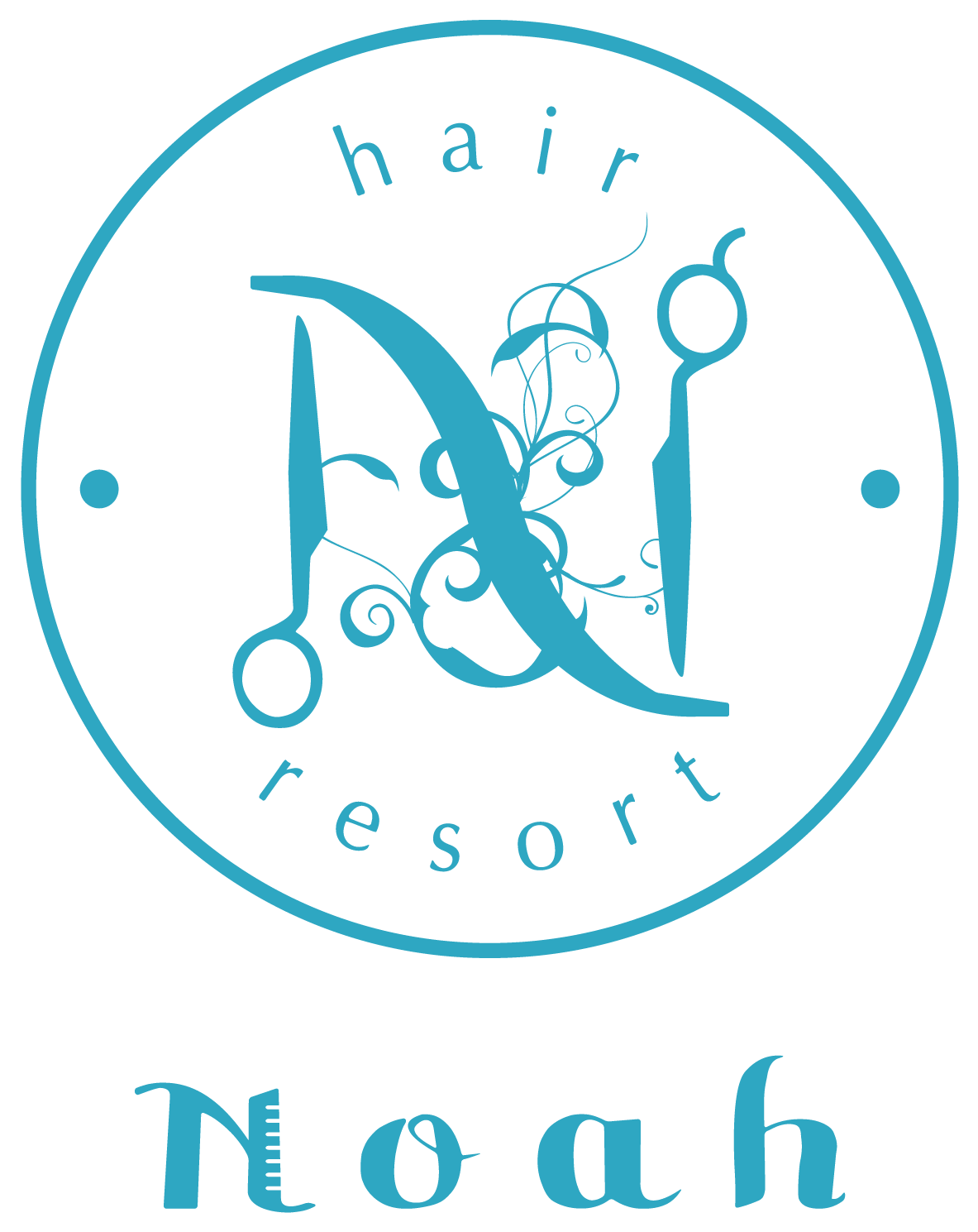 美容室/理髪店/美容系サロンと親しみ/優しいと青のロゴ