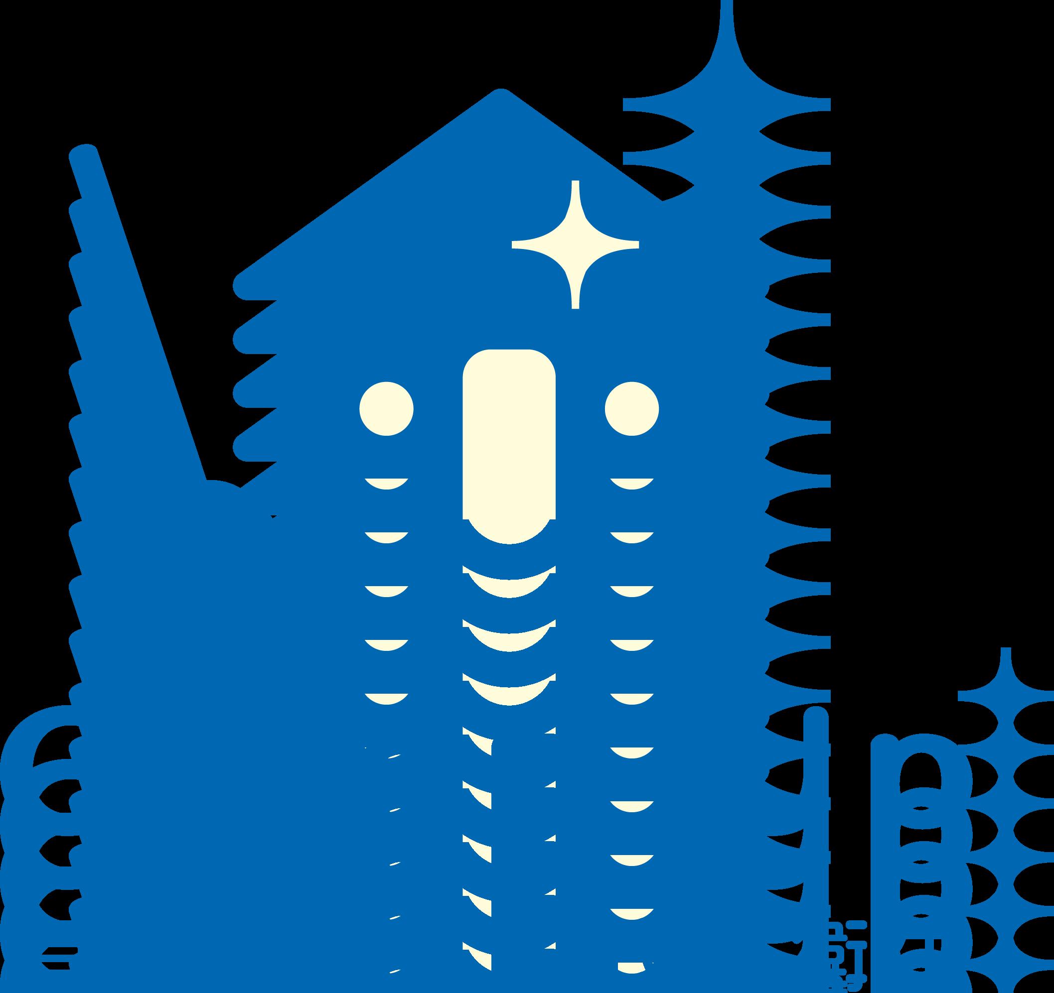サービス業と親しみ/優しいと青のロゴ