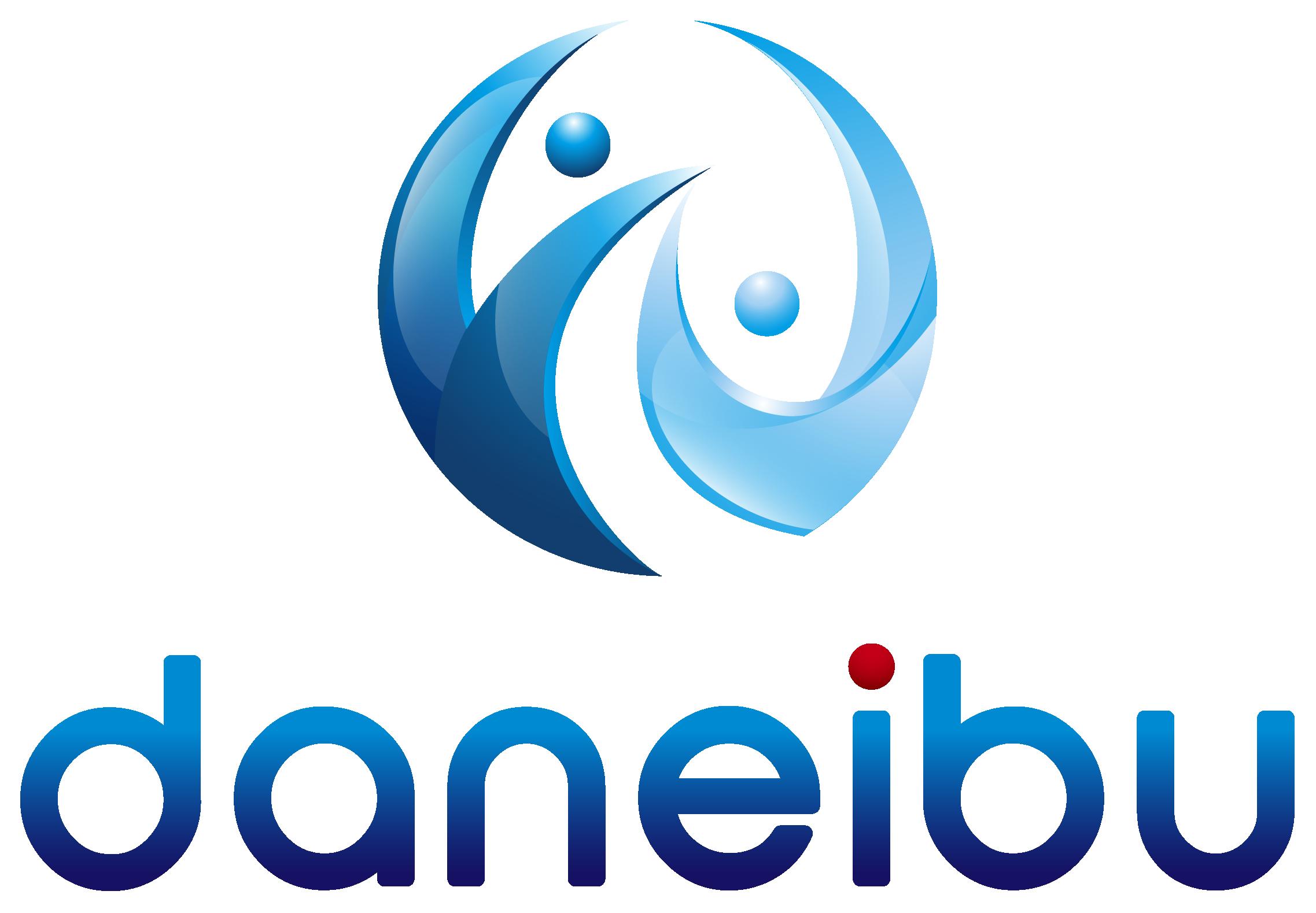サービス業と立体的と青のロゴ