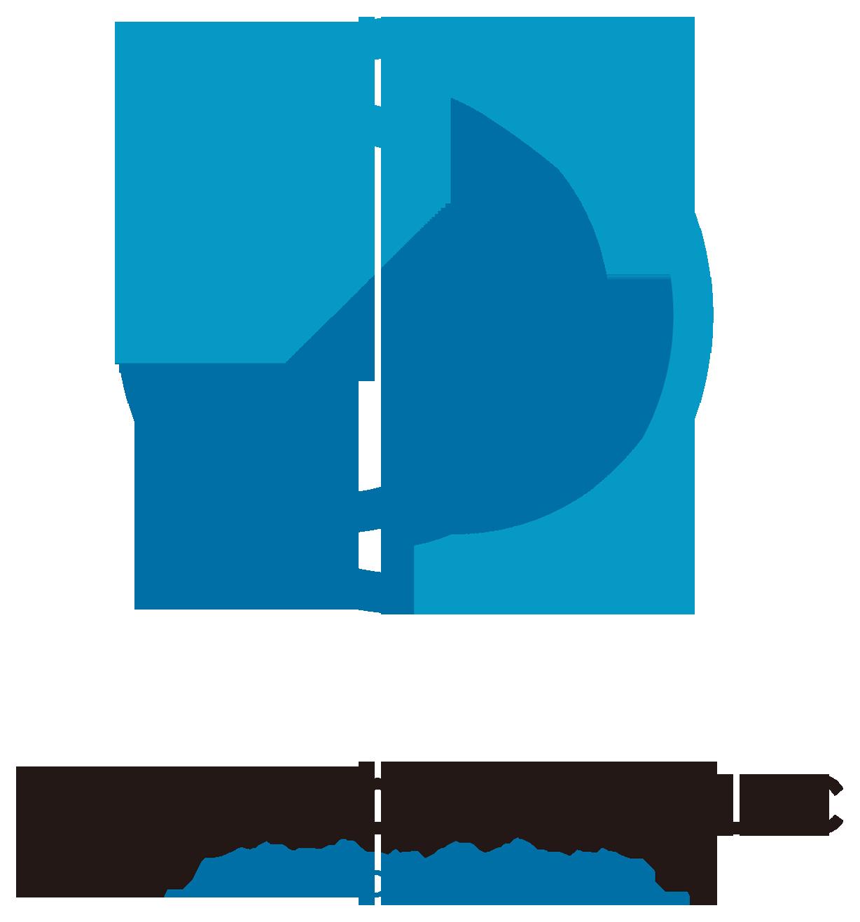 サービス業とシンプルと青のロゴ
