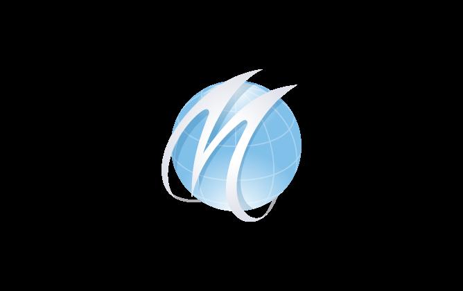 広告/印刷業と近未来と青のロゴ
