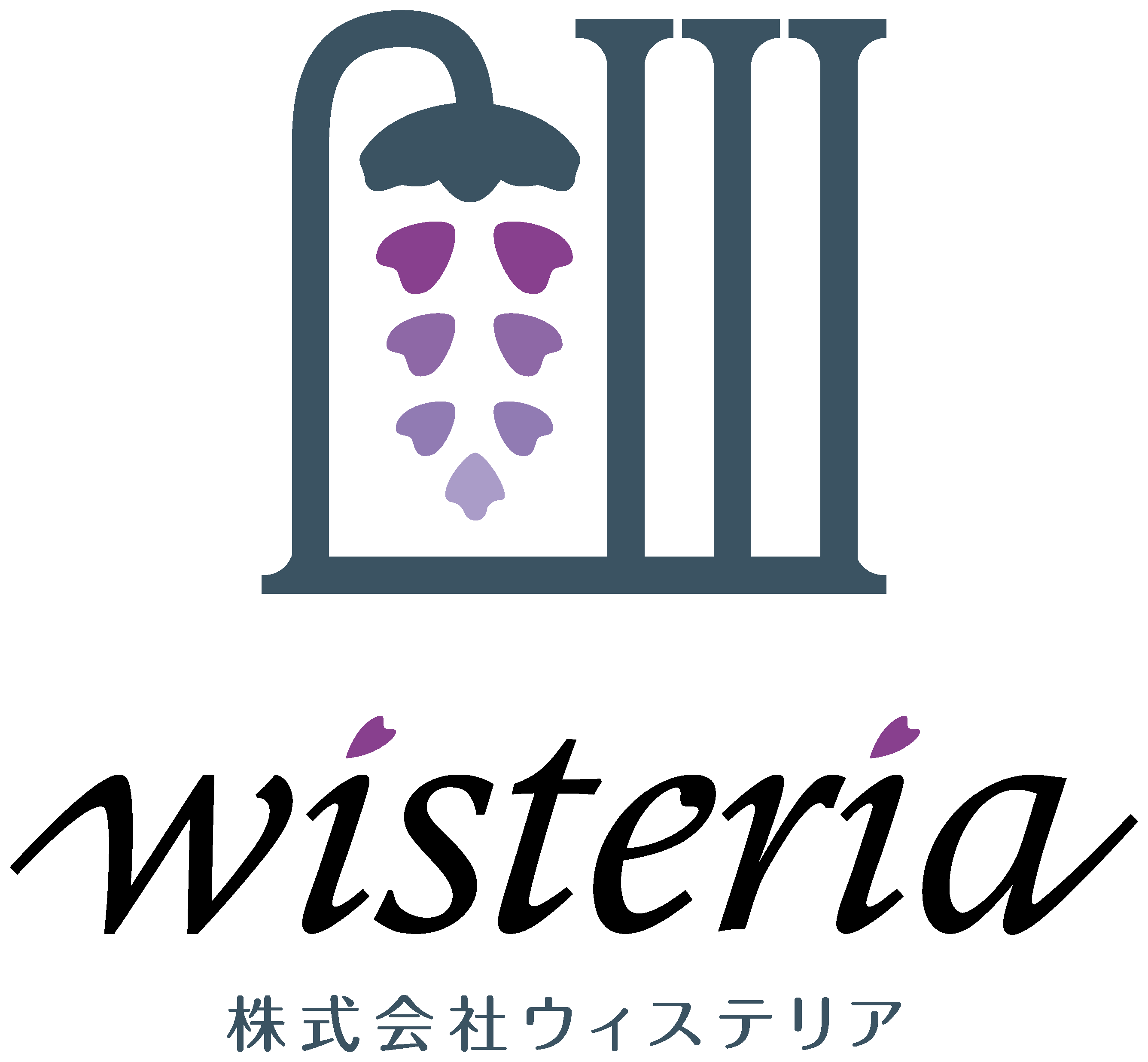 不動産業と親しみ/優しいと紫のロゴ