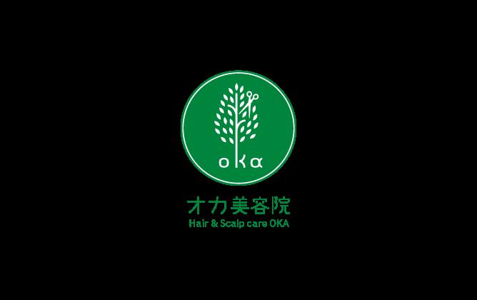 美容室/理髪店/美容系サロンと親しみ/優しいと緑のロゴ