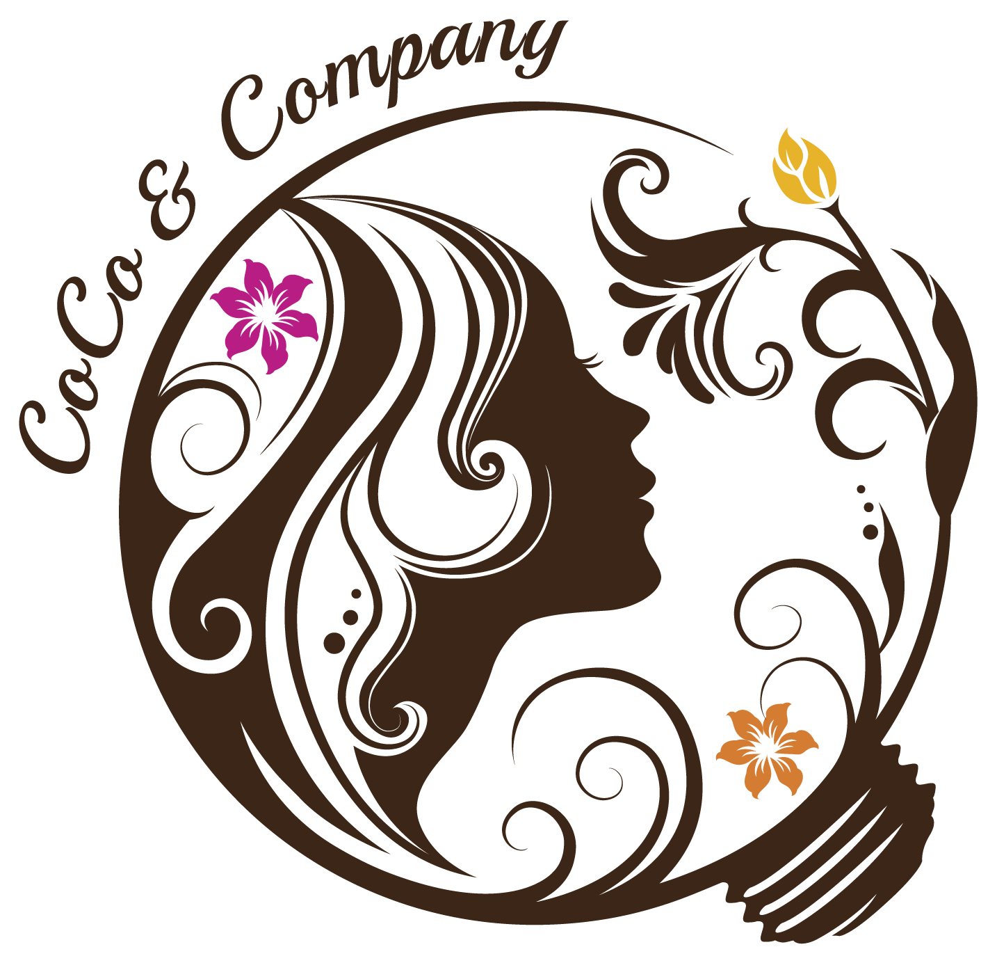 美容室/理髪店/美容系サロンと綺麗/ 華やかと茶のロゴ